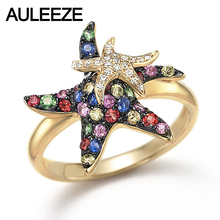 Natural Multi Sapphire Real Diamond Starfish Lovely Rings in 9K Yellow Gold Rings For Lady Gemstone Fine Jewelry Christmas Gifts(China)