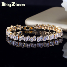 BlingZircons Brand Gold Color AAA Cubic Zirconia Baguette Chain Bracelets Women Wedding Tennis Bracelet Jewelry Female B089