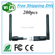 Factory Price 200pcs 150Mbps Ralink RT5370 wifi adapter with 2dbi antenna Wifi dongle 150Mbps for openbox dreambox TVBOX wifi(China)