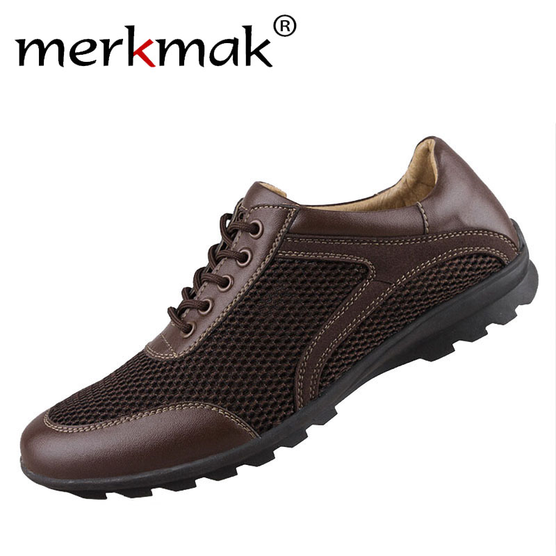 Mens shoes breathable flats mesh men genuine leather shoes fashion soft-soled casual loafers free shipping large size EU 39-47 <br>