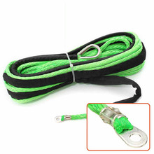 15M x 4.8MM 5500lbs Green Car Towing Rope Synthetic Winch Strap Cable Line With Hook Universal for Auto SUV ATV UTV Off-Road(China)
