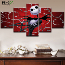 Wall Art Oil Poster Modern Pictures Frame Home Decor 5 Panel Movie Nightmare Before Christmas Abstract Canvas Painting PENGDA