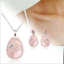 Charm Women's Fashion Wedding Unique Jewelry Rose gold Leaf shape Necklace Earring jewelry set for men Jewelry Accessories