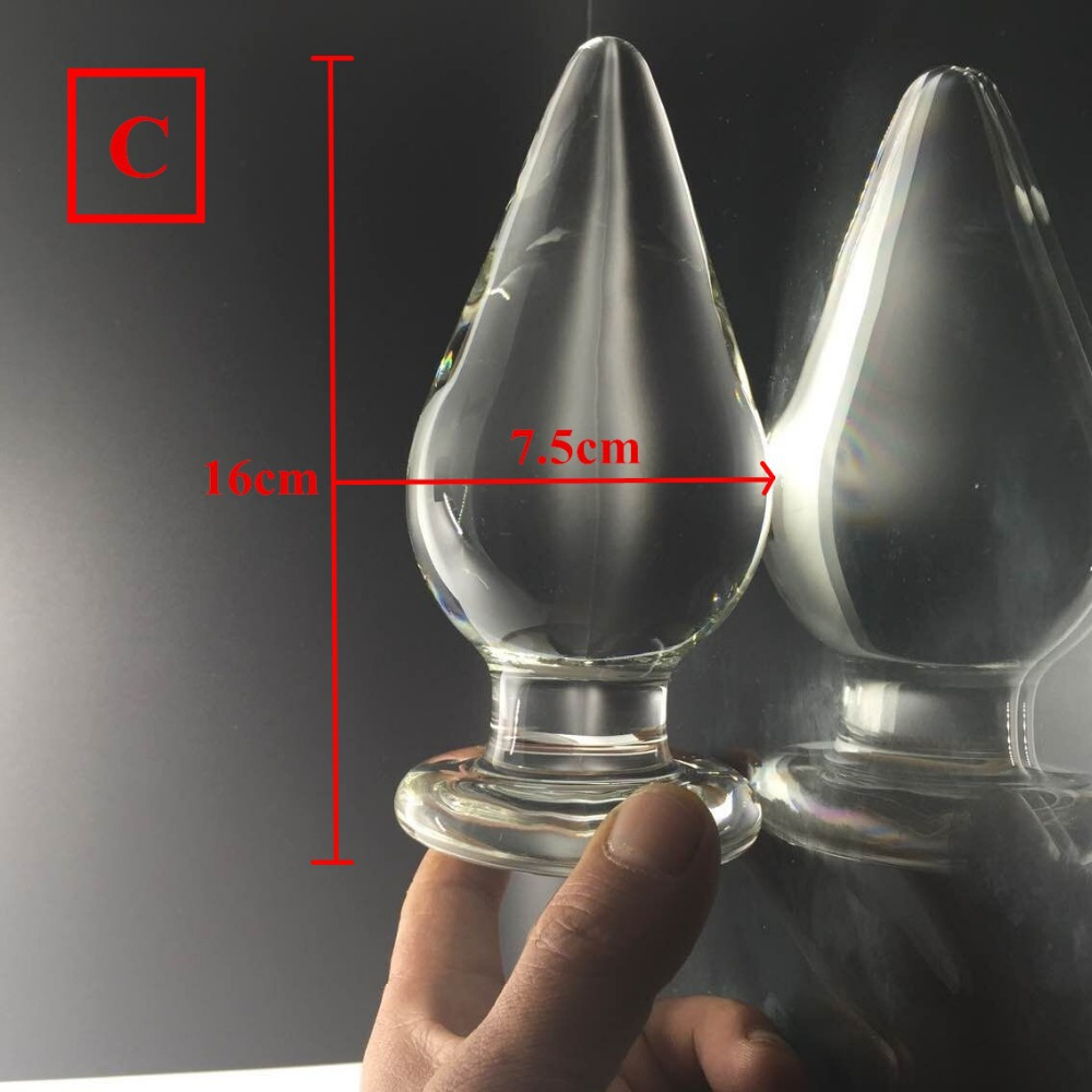 16*7.5cm(3inch) big Anal plug glass butt plug anal beads Dildo fetish anal Sex toys products for women/men buttplug anal balls<br>