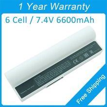 White 6 cell 6600mah 7.4V laptop battery for asus Eee PC 701 700 4G 2G 8G Surf A24-P701 A22-700 A23-P701 EEEPC46 7BOAAQ040493