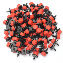 100Pcs 1/4Inch Adjustable Micro Drip Irrigation System Watering Sprinklers Anti-clogging Emitter Dripper Red Garden Supplies(China)