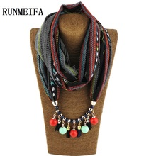 Korean Style 7 Color Women Ponchos and Capes Water Drop Pendant Necklace Scarf Collar Shawl Scarves Jewelry Wrap Casual Office