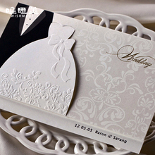 Wishmade 12pcs/lot Engagement Laser Cut Groom & Bride Dresses Wedding Invitations Weeding invitation Cards Decorations BH2046(China)