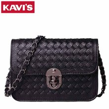 2017 Famous Brands Handmade CC Women Messenger Bags High Quality Designer Weave Black Leather Handbags Knitting Cross Body Bag(China)