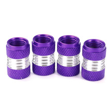 Purple Car Wheel Accessories 4PCS/SET Aluminum Alloy Car Truck Bike Bicycle Motorcycle Tyre Air Wheel Valve Stem Caps(China)