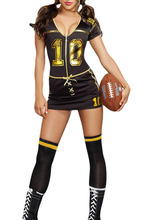 2016 New Summer Sexy  nurse costume Black V-Neck Short Sleeve Player Club Football Costume LC8963