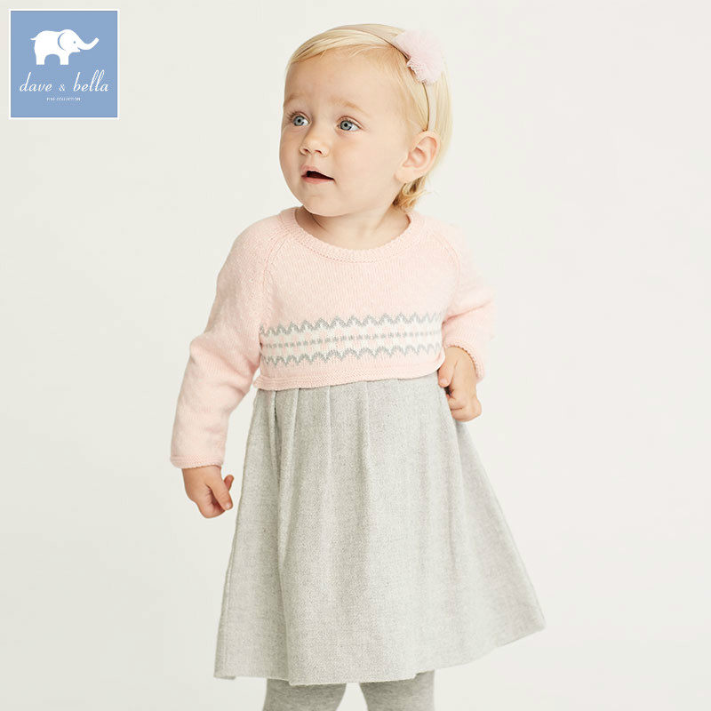 DB5530 dave bella autumn infant baby girls knitted sweater dress kids fashion party birthday dress children princess clothes<br>