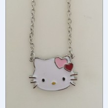 1Pc/Lot Retail and Wholesale Heart Crown New Cute Hello Kitty Pendant Necklaces Cheap Fashion Hello Kitty Jewelry For Women Gift
