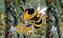Georgia Tech Yellow Jackets Real Tree Camo Flag 3x5 FT NCAA banner 100D 150X90CM Polyester brass grommets custom,free shipping