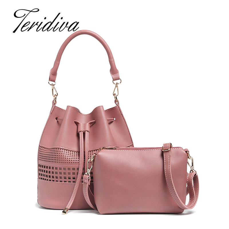 Teridiva Women Shoulder Bag Famous Brand Drawstring Bucket Bag Crossbody Messenger Handbag Hollow Out Handbags Composite Bags<br><br>Aliexpress
