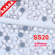 AAAAA Top Quality Hot Fix Rhinestone Clear Crystal SS20 Flatback Hotfix Rhinestones Iron On Crystal Strass for Garments Y0524