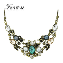 Colar Vintage Jewelry Maxi Necklace for Women Retro Graceful Bronze Chain  with Colorful Rhinestone Collares Statement Necklace