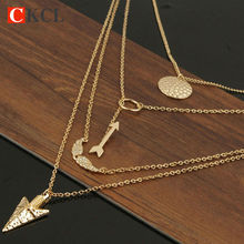 Fashion Pendant Necklace ladies chains necklaces Cheap Multi Layer Necklace Sexy Circular Arrow Angel Wing Maxi