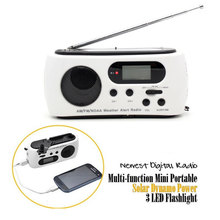 Newest Mini Portable Radio Hand Crank Solar Dynamo Power AM/FM Scan Digital Radio With 3 LED Flashlight Phone Charge