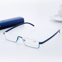 Men Reading Glasses Tr90 Half Frame Eyeglasses Semi Rimless Reader Reading Glasses Portable Presbyopia Reading Eyewear With Case(China)