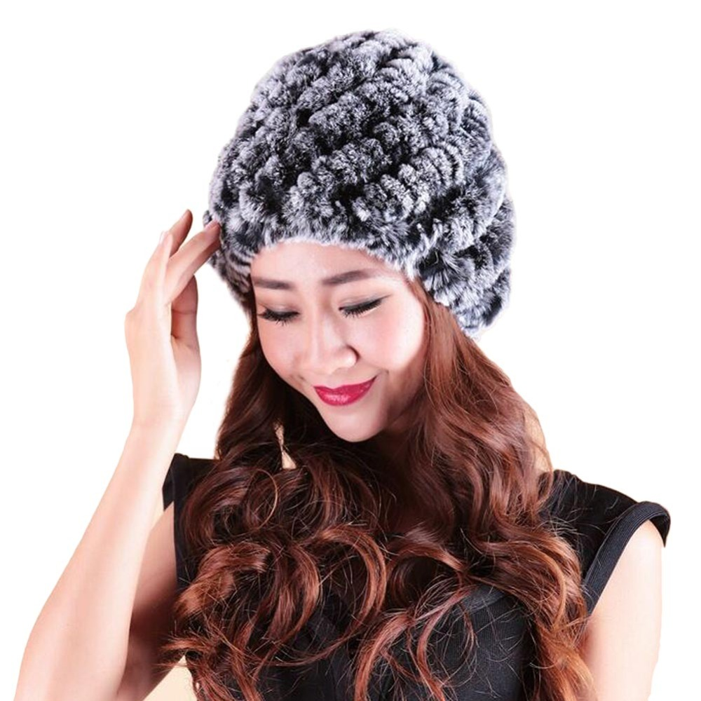 Womans Winter Hats Warm Rex Rabbit Fur Knitted Sweater Crochet Cap Natural Stripe Skullies and Beanies Women Gorros Headwear Îäåæäà è àêñåññóàðû<br><br><br>Aliexpress