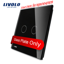 Livolo Luxury Black Pearl Crystal Glass, 80mm*80mm, EU standard, Single Glass Panel For 2 Gang  Wall Touch Switch,VL-C7-C2-12