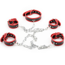 Buy Slave BDSM Bondage Restraints Leather Hanress Neck Collar Hand Ankle Cuffs Sex Toys Couples Adult Games Handcuffs Sex