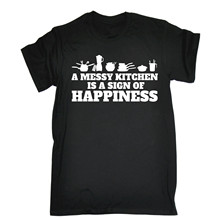 A MESSY KITCHEN IS A SIGN OF HAPPINESS T-SHIRT Chef Food Cook Birthday Gift Sleeve Tee Shirt Homme T shirt Cartoon Hip Hop Shirt(China)