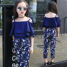 2017 Summer Girls Clothing Sets Baby Teenage Kids Ruffles Off Shoulder Short Sleeve Shirt+Floral Print Long Pant 2Pc Suit JW1916