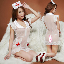 Buy Transparent Nurse Costume Sexy Lingerie Hot Women Lace Lovely Role Playing Racy Costumes Nightclub Party Stage Show Bar Uniforms
