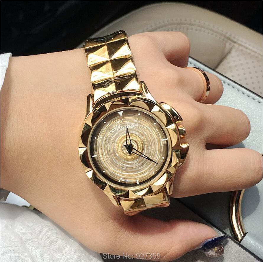 2017 New Women Watch Stainless Steel Watches Lady Shining Rotation Dress Watch Big Diamond Stone Wristwatch Lady Rose Gold Watch<br>