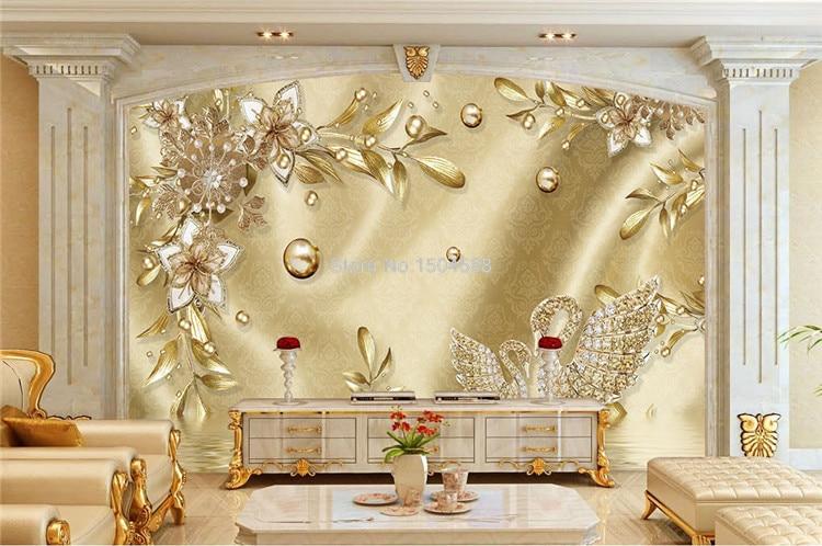 Custom Photo Wallpaper 3D Stereo Golden Flower Jewelry European Style Luxury Mural