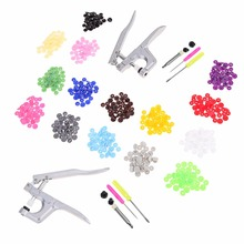 1Set Metal Press Pliers Tools Used for T3 T5 T8 Kam Button Fastener Snap Pliers+150 Set T5 Plastic Resin Press Stud Cloth Diaper(China)