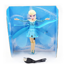 Promotion Fever Boneca Princess Flying Fairy Elsa Gift Infrared Induction Doll Kid Girl Brinquedo Electric Toy For Spain UK