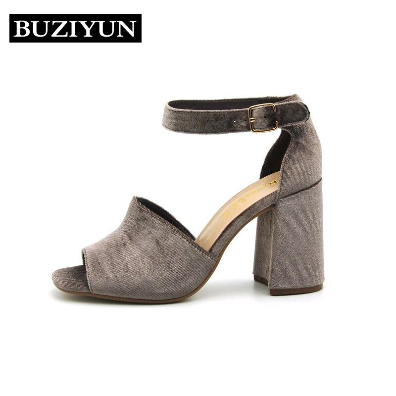 BUZIYUN 2017 Summer Women Sandals Open Toe Womens Sandles Thick Heel Women Shoes Korean Style Retro Colors Shoes<br>