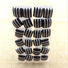 Newest Square Shape Resin Earring Set Mix 12 Pairs/Set Simple Design Black And White Stripe Small Stud Earrings Jewelry Brincos
