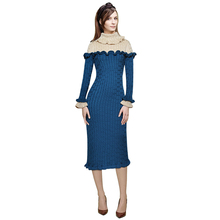 fashion women clothing winter sweater dresses women 2017 ruffle turtleneck flared long sleeve midi bodycon dresses knitted dress(China)