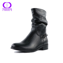 AIMEIGAO Soft Leather Ankle Boots Women Rubber Boots Push Large Size Boots Comfortable Low Heel Spring Autumn Shoes 2 Colors
