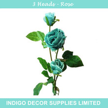 INDIGO-5pcs 3 heads Blue Rose Decorative Rose Dahlia Silk Flower Wedding Flower Party Event Peony Silk Fake Flower Free Shipping