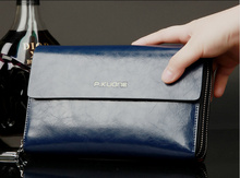 P.KUONE Luxury Shining Oil Wax Cowhide Men casual Clutch Bag  Genuine Leather handbags Double Layer Business day clutches wallet