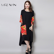 Mrs Win Dress Pattern Floral Print Pocket Women Short Sleeve Loose Casual Retro Flax Tunic White Cotton Linen Dresses XXXL 6XL