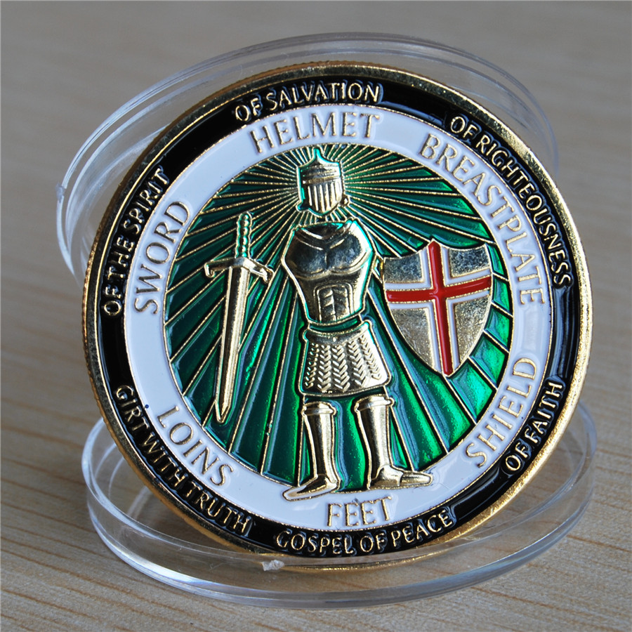 Armor of God Defend the Faith - Brass Challenge Coin (9)