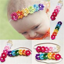 Rainbow Colorful  Photography Kids Headwear Accs Cute Baby Flower Hair Acessories Girl Hairband
