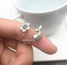 2016 Rushed Limited Zinc Alloy Animal Anillos Simple Ancient Ring Opening Scout Flower Sunflowers Rings Jewelry Whales Humpback