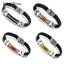 Fashion Stainless Steel Gold/Rose Plated Charm Button Wrap Cuff Buckle Leather Bracelets Bangles For Men's Jewelry