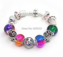 Free shipping 16-21cm alloy Christmas tree bear crown charms rainbow color glass beads fashion bracelet