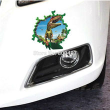10 x Car-styling 3D Car Sticker Car-covers Dinosaur Coming Out For Tesla Chevrolet Cruze VW Golf Mazda BMW Kia Renault Opel Lada(China)