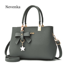Nevenka Women Leather Bag Brand Designer Bow Star Pendant Handbag Fashion Solid Style Shoulder Bags Luxury Casual Tote 2017 New(China)