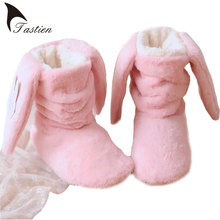 TASTIEN Winter Ladies Warm Indoor Rabbit Ears Women Shoes Short Boots Confinement Home Shoes Cashmere Chinelos Femininos Botas(China)