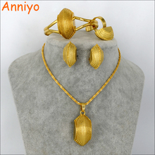 Anniyo New Ethiopian Ethnic Style Jewelry Women Gold Color Eritrea Habesha Necklace/Bangle/Ring/Earrings sets Africa #061606